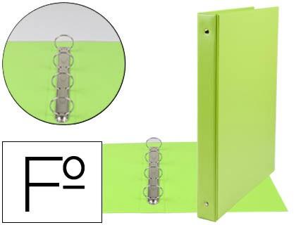 FOLDER LIDERPAPEL 4 RINGS 25 MM ROUND PLASTIC FOLIO COLOR GREEN PISTACHO