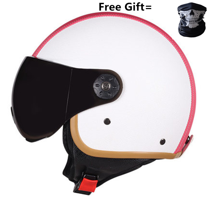FREE SHIPPING Black Adult Open Face Half Leather Helmet Moto Motorcycle vintage Motorbike white pink purple