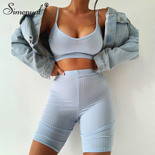 Simenual Ribbed Bodycon Club Women Two Piece Sets Strap Sleeveless Solid Crop Top And Biker Shorts Set Casual Fashion Outfits
