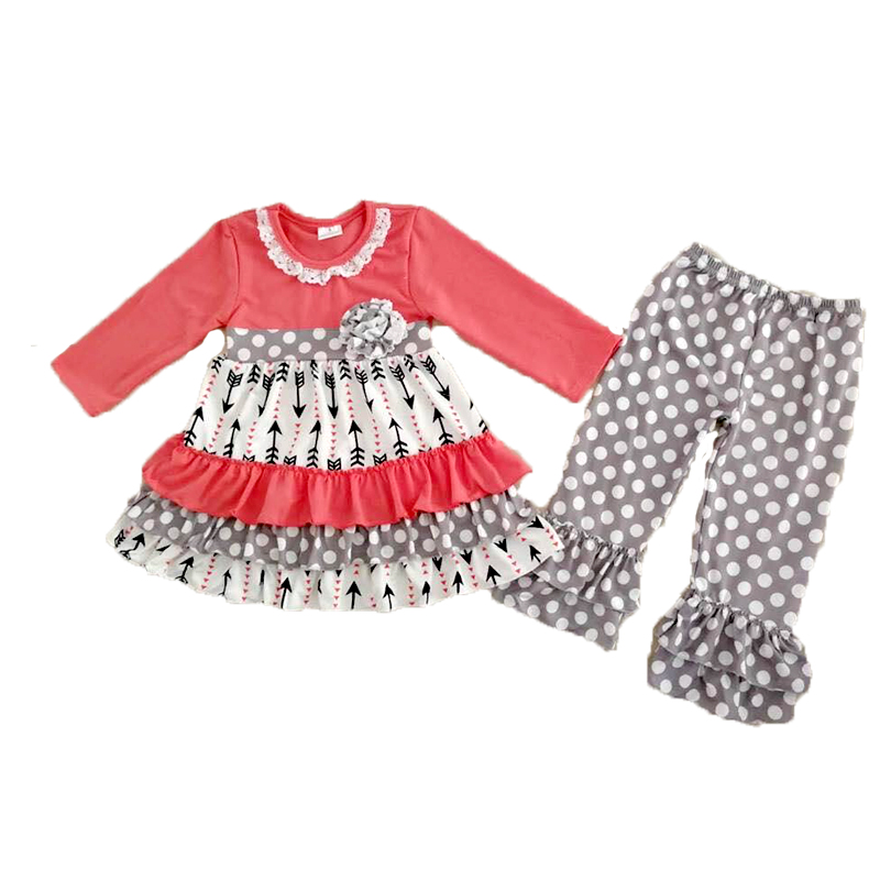 best selling children pink top with flowers and ruffle pants girls long sleeve outfit with lace image