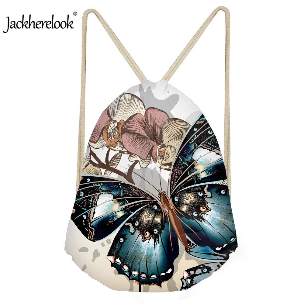 Jackherelook 2020 New Style Soft Drawstring Bag Girl Women's Shopper Bags 3D Butterfly Printing Women String Yoga Storage Bags