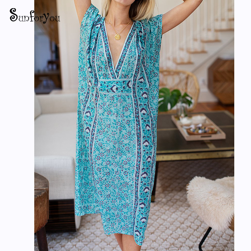 Over Size Beach Dress For Women Beach Cover Up 2020 Robe De Plage Swimsuit Cover Up Tunic Deep V Neck Sexy Maix Dress Sarong
