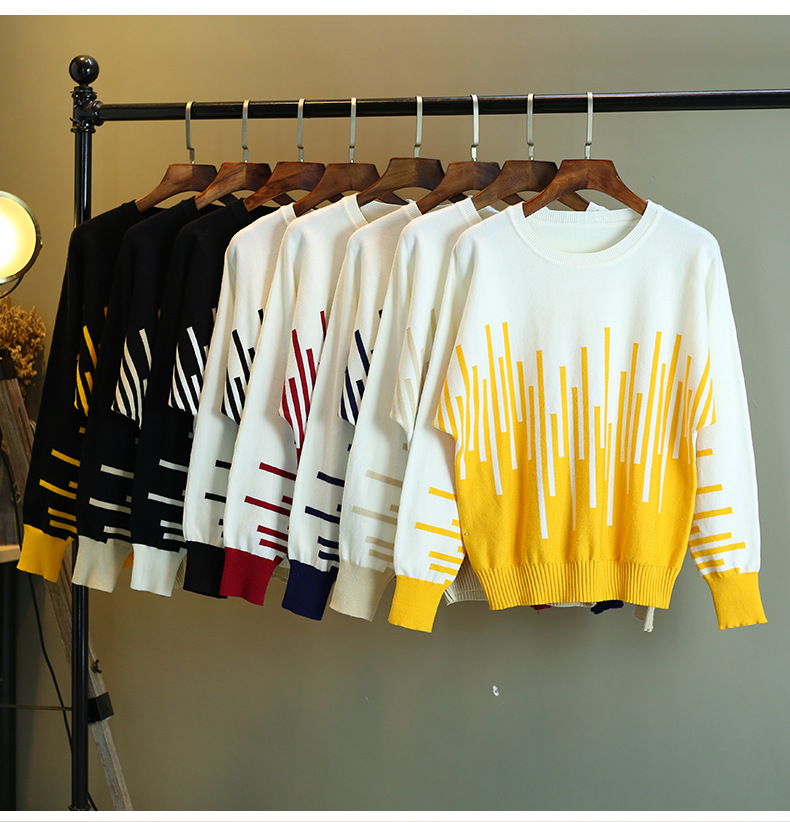 Women Pullover Sweater Autumn Winter Color Block Striped Female Jumper Long Sleeve O Neck Soft Warm Knitted Pull Femme