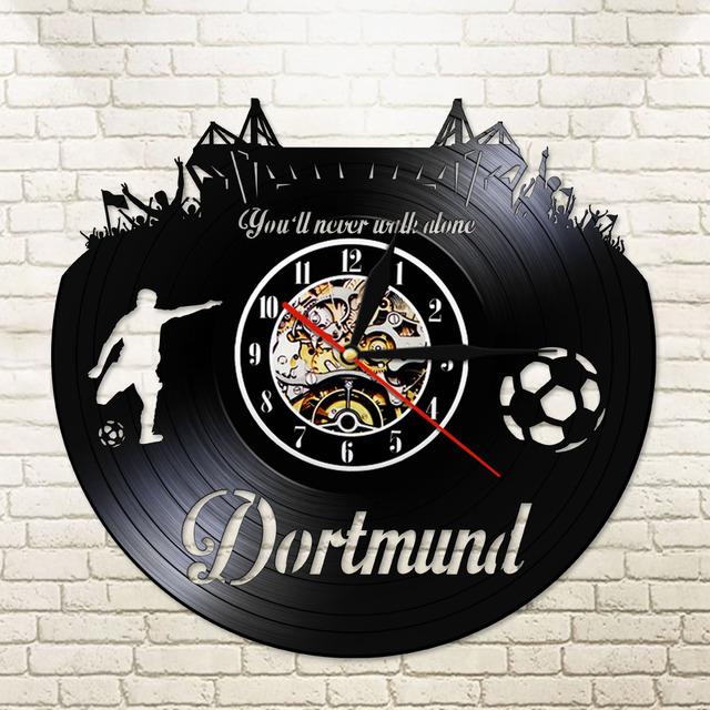 Dortmund City Skyline Wall Clock German States Football Stadium Fans Cellebration Champions Wall Art Vinyl Record Wall Clock