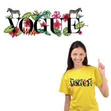 VOGUE Flowers patches For Clothing A-level Washable DIY Iron On Patches Clothes Sticker Heat Transfers Girl t-shirt Appliqued(China)