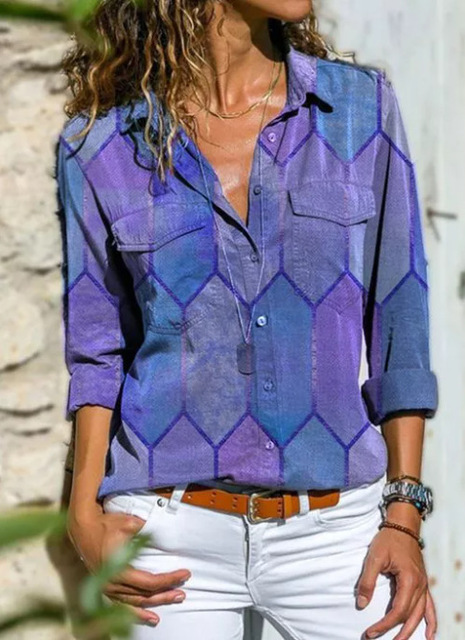 2020 Autumn Casual Women Blouse Shirts Retro V Neck Button Long Sleeve Tops Elegant Office Ladies Plus Size Shirt Blusa Feminina 6