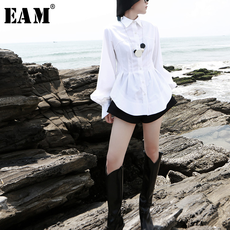 [EAM] Women White Pleated Round Hem Blouse New Lapel Long Lantern Sleeve Loose Fit Shirt Fashion Tide Spring Autumn 2020 1T156