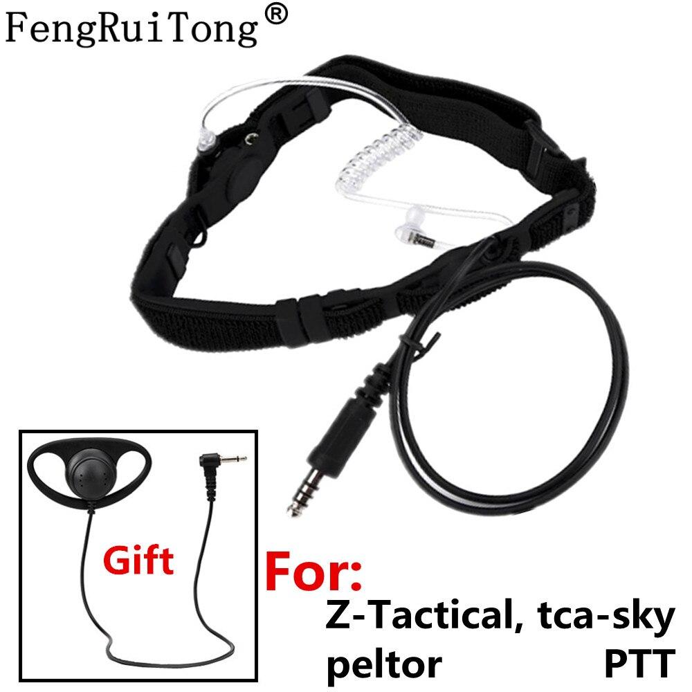 Telescopic Heavy Duty Tactical Throat Vibration Mic Headset For Z-Tactical Tca-sky Peltor PTT For Walkie-talkie BAOFENG TYT HYT