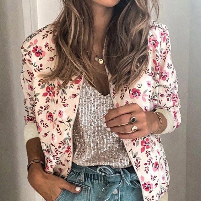 Gentillove Casual Floral Printed Bomber Jacket Autumn Elegant Zipper Coat Office Wear Slim Office Jackets Vintage Outwear
