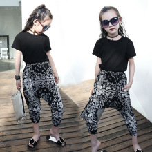 2019 Kids Girls Clothes Set Black Cotton T Shirt Top+Floral Printed Harem Pants 2pcs Tracksuits Summer Children Outfits Clothing
