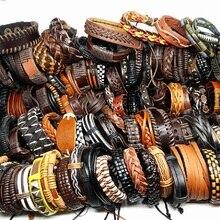 MixMax 50 шт./упак. мужские браслеты ручной работы в стиле ретро из натуральной кожи