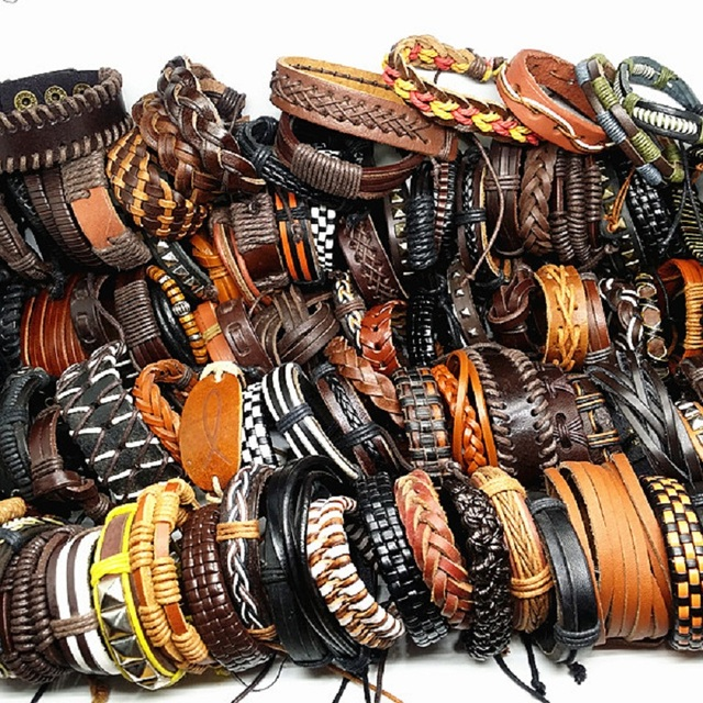 MixMax 50pcs/pack assorted retro Handmade mens top Genuine Leather tribal surfer cuff bracelets mix styles