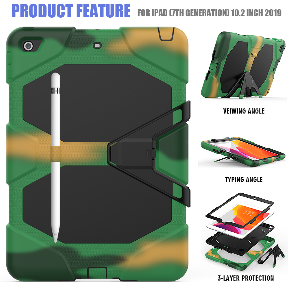 Armor Silicone Duty 10.2 Case PC Shockproof Kickstand For Rugged iPad Heavy Kids Case