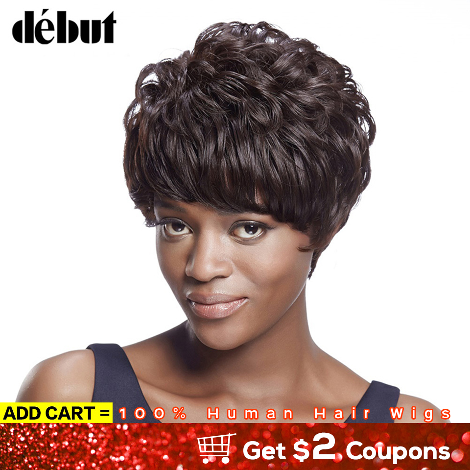 Debut Short Human Hair Wigs 100% Remy Brazilian Hair Wigs For Black Women Ocean Wave Pixie Cut  Short Wigs With Bangs