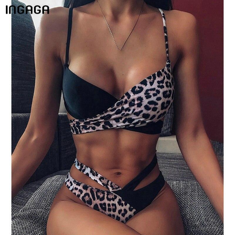 INGAGA High Waist Bikini 2020 Push Up Swimsuit Thong Swimwear Women Leopard Brazilian Bikini Set Biquini Sexy Bathing Suit Women