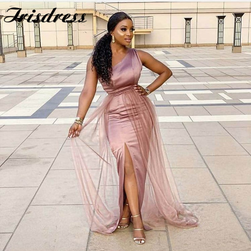 One Shoulder African Bridesmaid Dresses Wholesale 2019 Side Split Floor Length Elastic Satin Mermaid Wedding Party Gowns Cheap