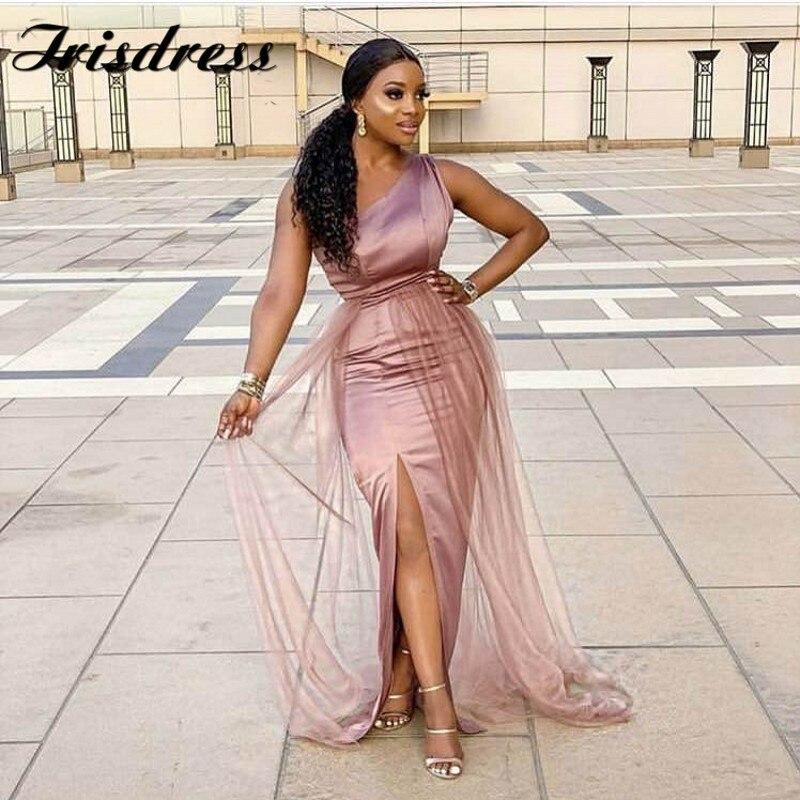 One Shoulder African Bridesmaid Dresses Wholesale 2019 Side Split Floor Length Elastic Satin Mermaid Wedding Party Gowns Cheap
