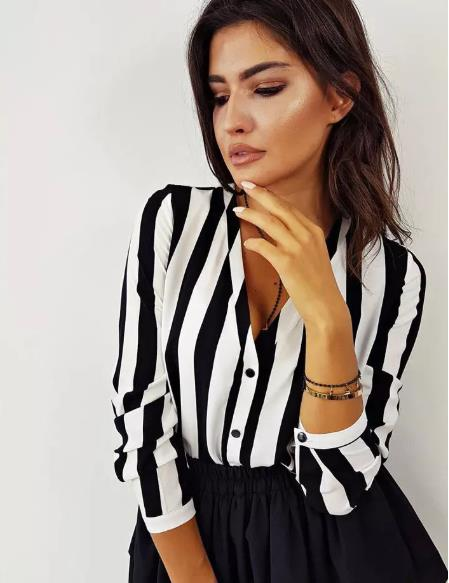 2019 Fashion Striped Women Long Sleeve V-neck Loose Shirts Ladies Plain Casual Black Red  Button Blouse Size S-XL