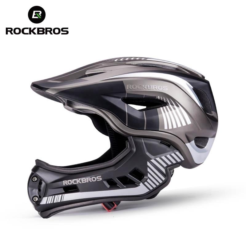 Велосипедный шлем ROCKBROS на все лицо для детей, Съемный встроенный противоударный, защита от пота, 12 вентиляционных отверстий