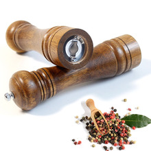 Pepper Grinder Oak Wood Manual Ceramic Grinding Spice Grain Mill Grinder Multi-purpose Spice Bottle Kitchen Accessories manual coffee grinder wood metal hand mill spice mill wood color