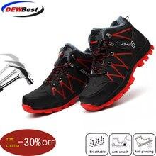 Водонепроницаемая зимняя защитная обувь; ботинки для мужчин; повседневные зимние теплые ботинки на меху для работы; небьющиеся ботинки со стальным носком; мужские ботинки; Цвет Черный; 45, 46, 47