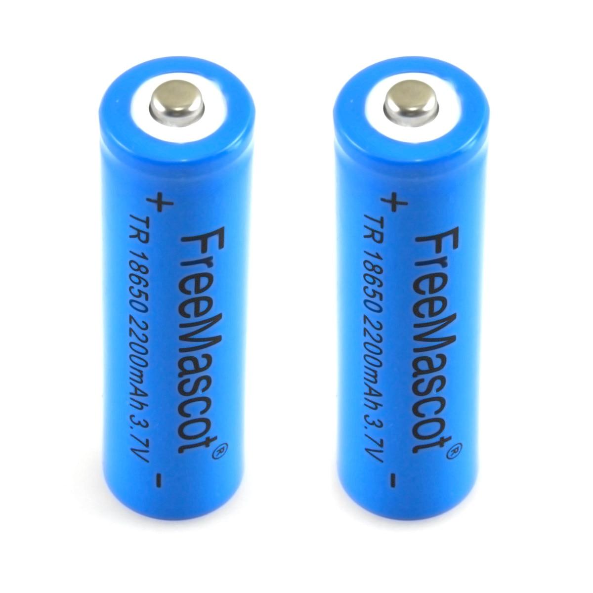 CWLASER FreeMascot 3.7V 2200mAh TR 18650 Rechargeable Li-ion Battery (2 Pcs) (Blue)