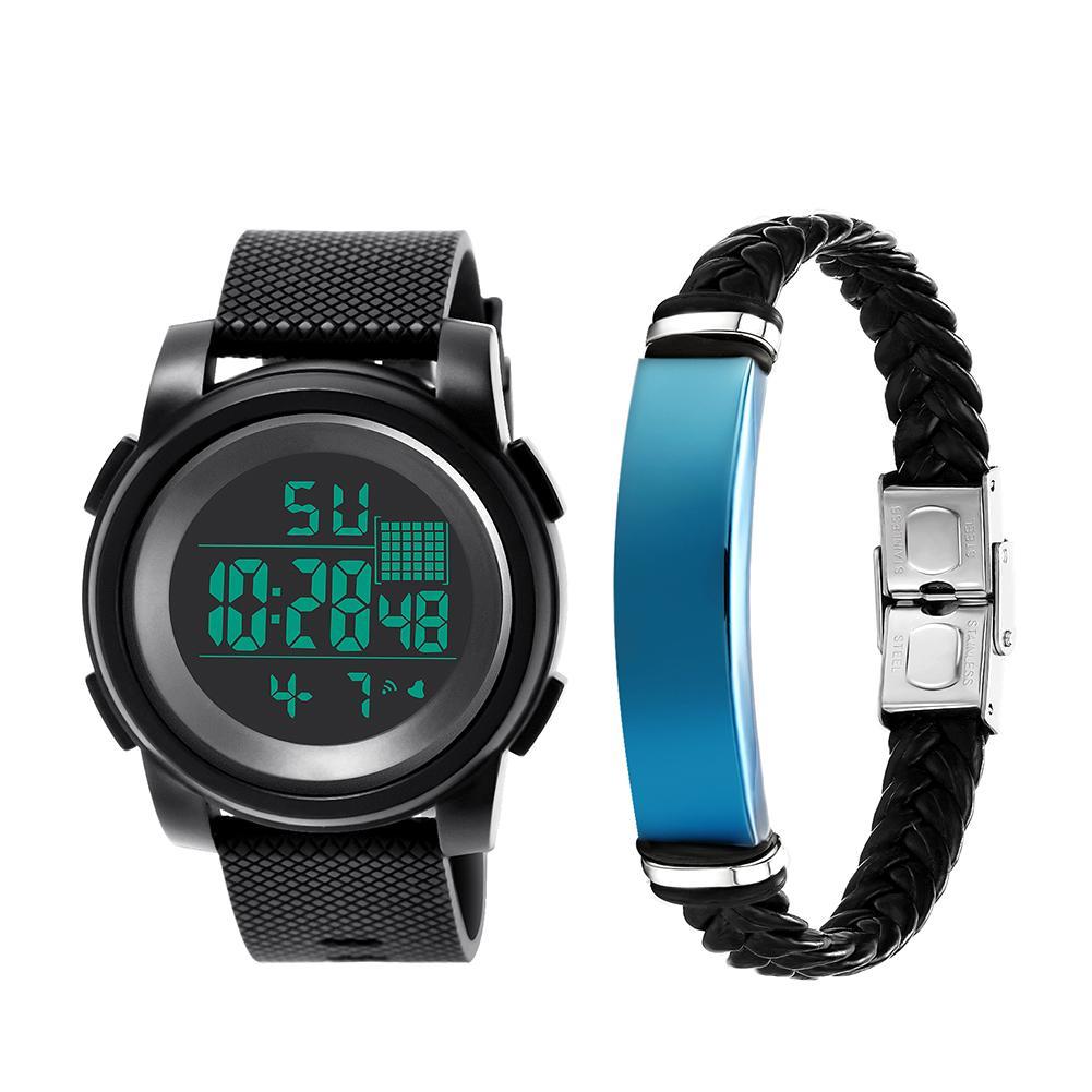 2Pcs Men Sports Waterproof Electronic Digital Luminous Wrist Watch + Bracelet
