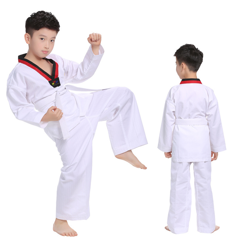 Long Sleeve Kids Taekwondo Uniform Boys Taekwondo Uniforms Children Karate Judo Girl Taekwondo Suit Dobok Children TKD Clothing