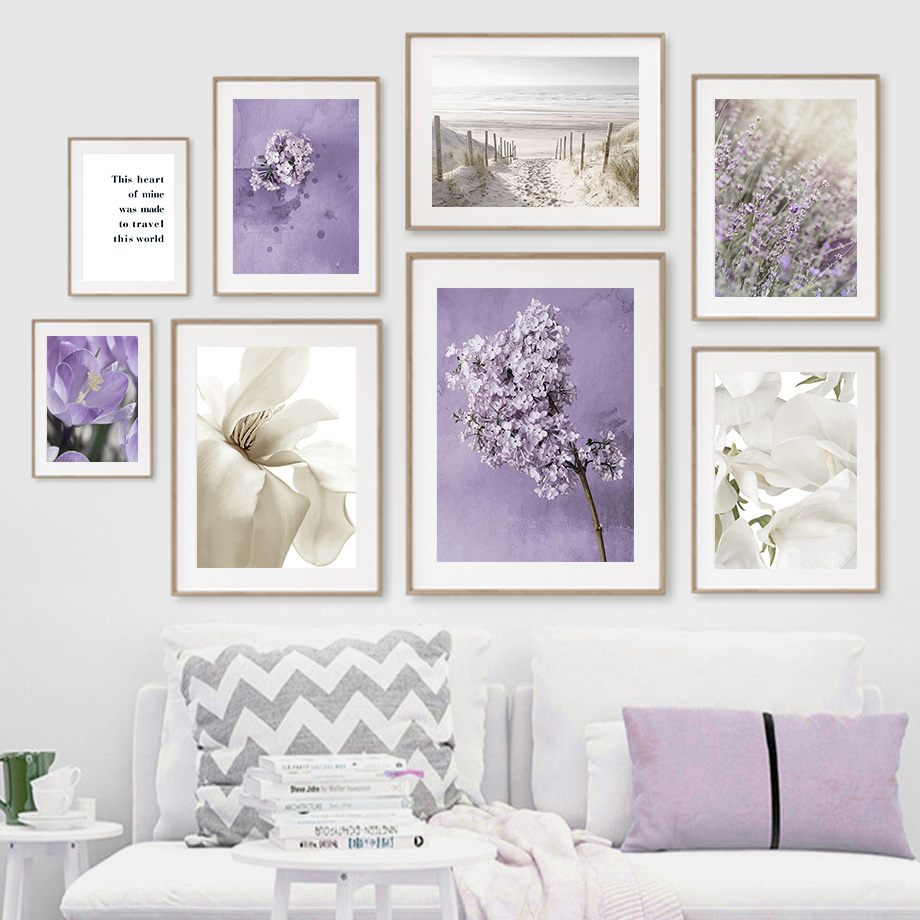 Sand Sea Beach Lilac lily Purple Magnolia Nordic Posters And Prints Wall Art Canvas Painting Wall Pictures For Living Room Decor
