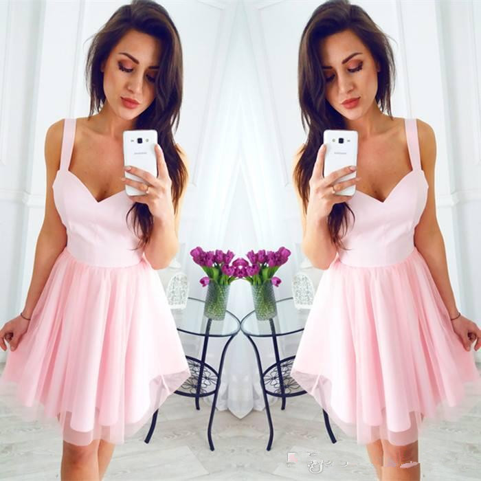 201 Pink Short Cheap Party Dresses Spaghetti Straps A Line Knee Length Cocktail Gowns Mini Prom Dress For Graduation Bridesmai