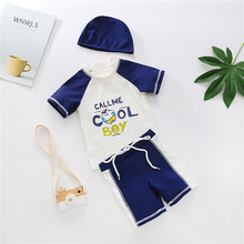 Swimsuit-Set Shorts There-Piece-Suit Toddler Baby Beach Summer Cap Print for Tops Boy's