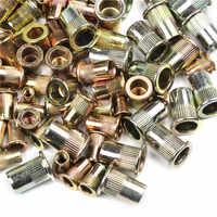 100PCS Gemischt Verzinkt Carbon Stahl Niet Mutter Gewinde Rivnut Insert M4 M5 M6 M8