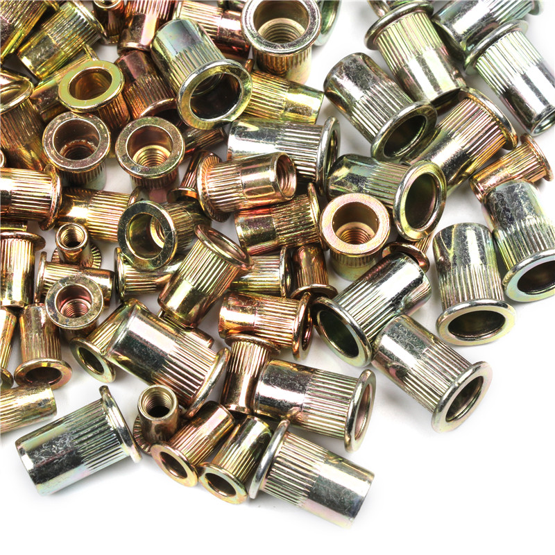 100PCS Mixed Zinc Plated Carbon Steel Rivet Nut Threaded Rivnut Insert M4 M5 M6 M8