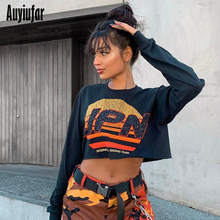 Auyiufar Letter Print Casual Short Sweatshirt Women Long Sleeve O-Neck Pullovers 2019 Autumn New Loose Fashion Female Clothes