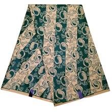 Новая африканская ткань зеленый цветочный принт в полоску очень хорошая восковая ткань для вечерние платья 6 ярдов \ Лот