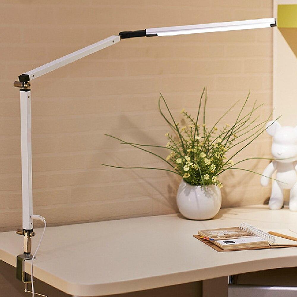 Lámpara de mesa regulable de brazo oscilante de metal lámpara de escritorio de control remoto LED luz de trabajo de arquitectura con lámpara de uñas ajustable de altura de clip