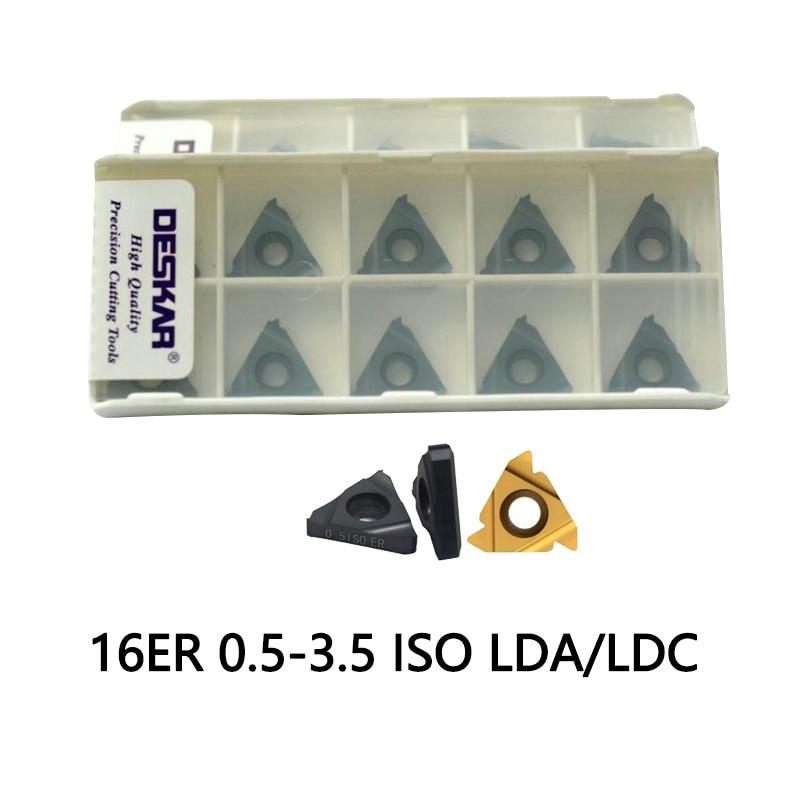 16er 1.5 Iso 10pcs 16ER 0.5 0.75 1 1.25 1.5 1.75 2 2.5 3 3.5 ISO LDA LDC Carbide Inserts CVD Coating DESKAR Brand Cut Steel