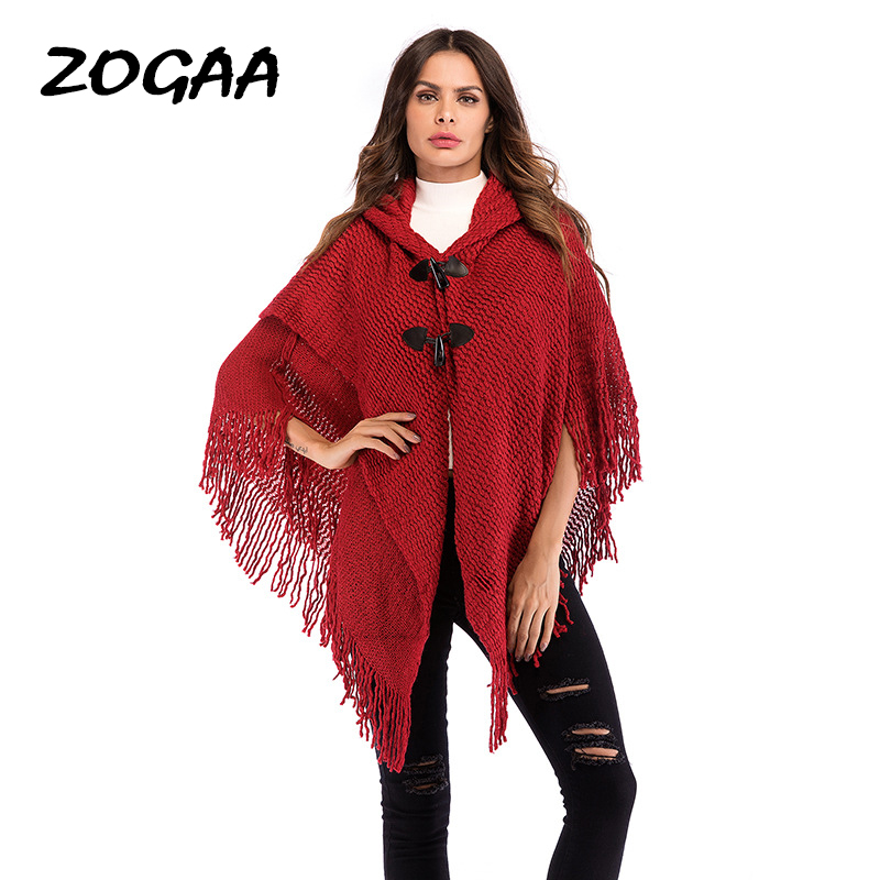 ZOGAA 2019 Red Knitted Cloak Sweater Women Casual Loose Tassels Shawl Autumn Winter Streetwear Poncho Women Hooded Pullovers