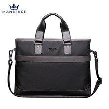 MANBERCE New Mens Briefcase Canvas Computer Bag Horizontal Fashion Handbag Waterproof Cloth Dark Blue Free Shipping
