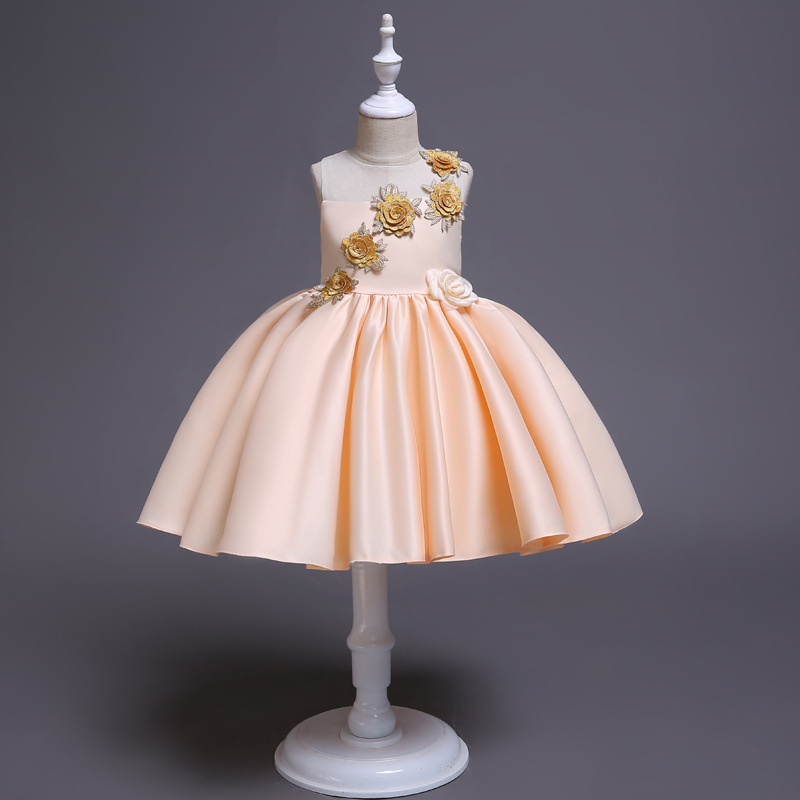 Calissa New Style Children Lace Princess Dress Pink Silk Fabrics Tutu Cute Host Mixed Colors Performance Formal Dress