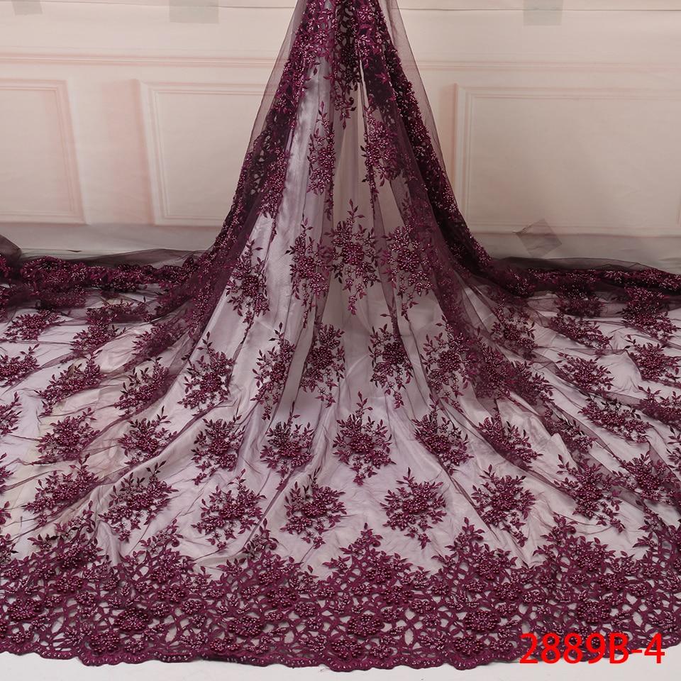 Royal African Lace Fabric 2019 High Quality Lace French Mesh Fabric Beaded Beads Nigerian Swiss Lace Fabrics For Dress YA2889B-4