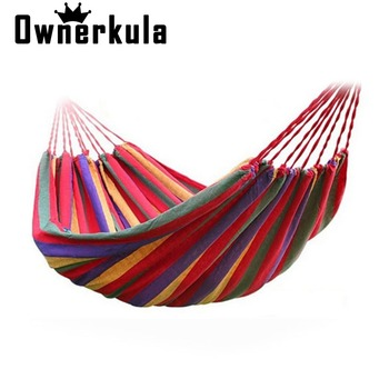 Ownerkula Camping Hanging Hammock Strong Outdoor Picnic Garden Hammock Hang Bed Swing Canvas Stripe Hang Bed Lazy Chair Hammocks hammock outdoor hammocks camping garden furniture hammock