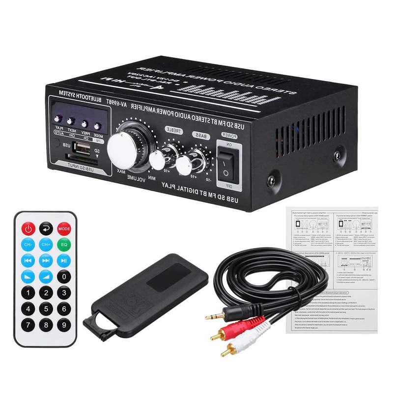 Lepy 12V/220V 400W 2 CH Bluetooth Hifi Stereo Amplifier USB SD FM Radio Power Stereo Car Amplifier Audio Home Amplifier