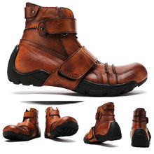 Мужские мотоциклетные ботинки из натуральной воловьей кожи коричневые