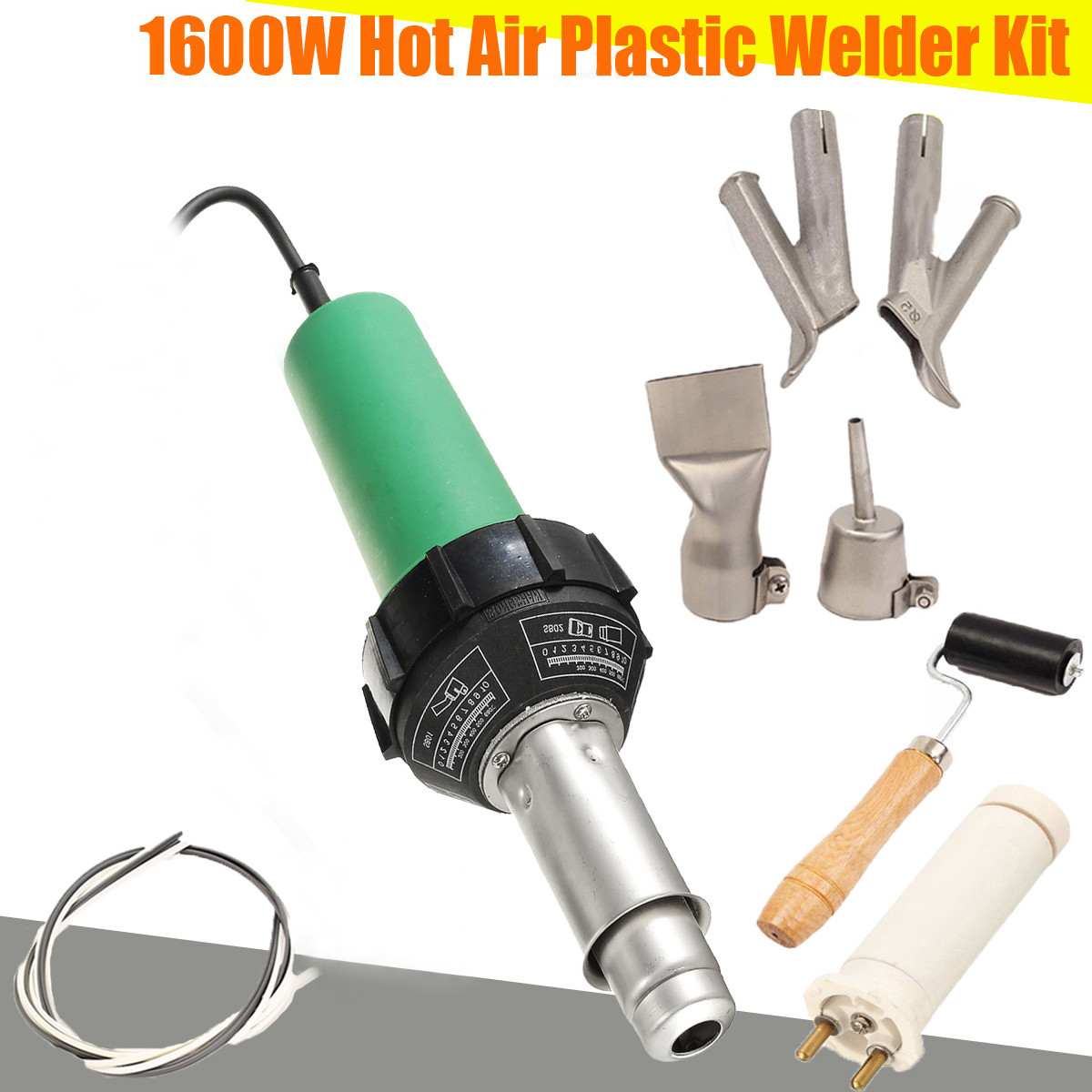 220V 1600W 3000Pa Plastic Integrated Welders Hot Air Welding Torch G un Heating Core Set + 2pcs Speed Nozzle +Roller