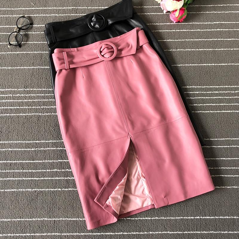 2020 Spring New Sheepskin Skirt Pink Leather Skirt Womens High Waist Skirt Stylish Slim Midi Skirt Hip Split Skirt