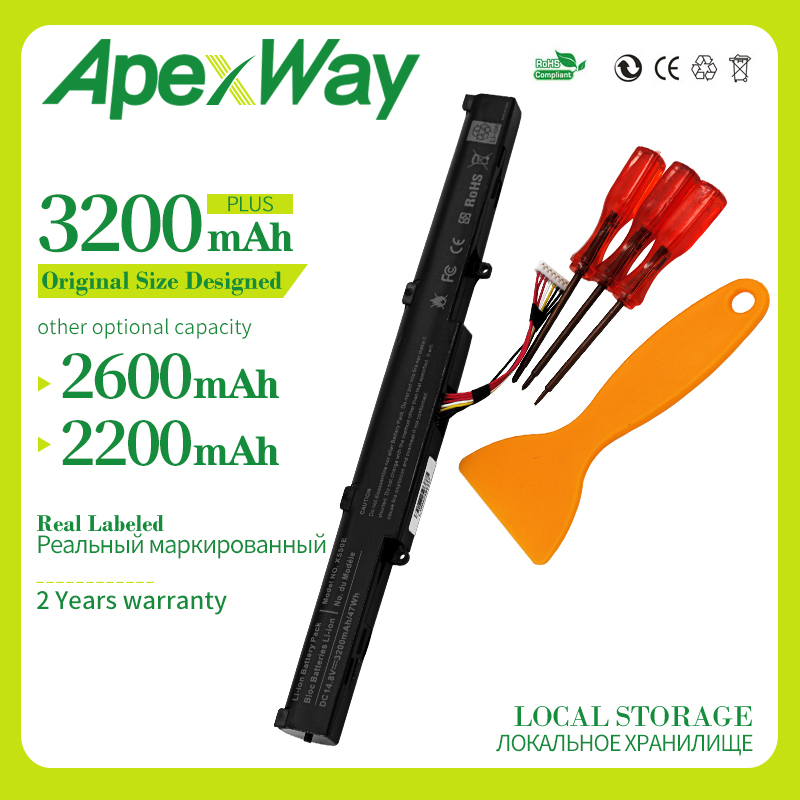 Apexway 3200mAh 14.8V Laptop Battery A41-X550E X450 A450 For ASUS F450E F450JF F450C A450J X550V X450E X751L X751M A450V Series