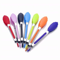 silicone 9/12 inch spaghetti salad toast barbecue bbq meat long flat tongs tool for kitchen cooking tools food tongs