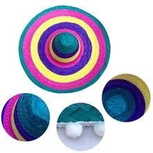 Suministros de fiesta para hombres y mujeres, sombreros de paja de estilo mexicano para niños y adultos, regalo de ala ancha para exteriores, Color decorativo redondo al azar, bordes coloridos