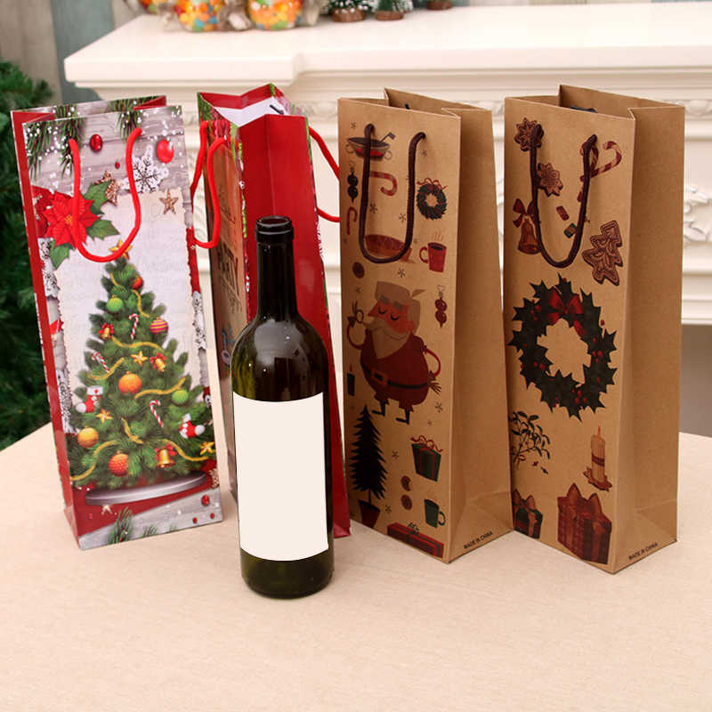 Christmas Reusable Kraft Paper Wine Bottle Gift Bags Christmas Wine Bottle Packaging Paper Bags For Gifts Xmas Party Favor